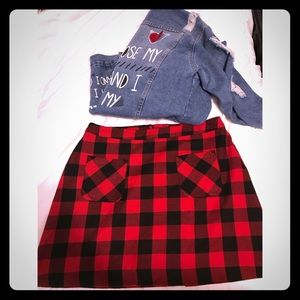 Red & Black Check Plaid Skirt